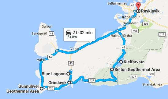 Reykjanes Peninsula map